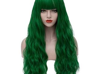 Green Wigs for Women 26  long Curly Wavy Hair Wig with Bangs AD002GR