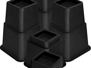 Utopia Bedding Adjustable Bed Furniture Risers    8 Piece Set  Black