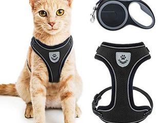 Cat Harness and Retractable leash Set   Adjustable 16 5ft leash for Cats  Puppies  Small Dog Black
