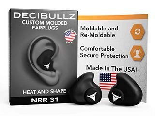 Decibullz   Custom Molded Earplugs  31dB Highest NRR  Comfortable Hearing Protection for Shooting  Travel  Swimming  Work and Concerts  Black