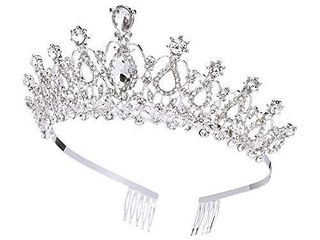 Makone Crystal Crowns and Tiaras with Comb for Girl or Women Birthday Christmas Xmas Halloween Party Valentines Gifts Wedding Tiaras  Style 5