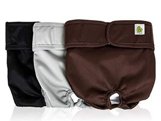 Pet Magasin Reusable Dog Diapers Sanitary Wraps Panties  3 Pack  Black Brown and Grey  Small