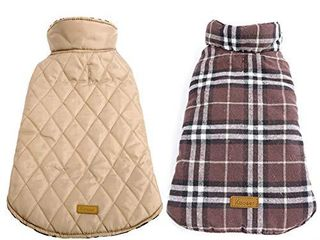 1 Kuoser Cozy Waterproof Windproof Reversible British Style Plaid Dog Vest Winter Coat Warm Dog Apparel Cold Weather Dog Jacket  l Back 14 8 Neck 17 5 Chest  21 1 24 2  Beige