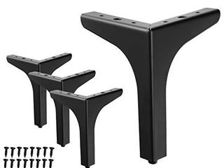 WEICHEN 7 inches Metal Furniture legs Metal Polishing Black Triangle Sofa legs  Set of 4  7 inchesi1 4