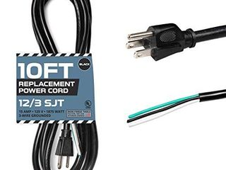 12 AWG Replacement Power Cord with Open End   10 Ft Black Extension Cable  12 3 SJT  NEMA 5 15P
