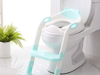 Potty Training Seat with Step Stool ladder SKYROKU Potty Training Toilet for Kids Boys Girls Toddlers Comfortable Safe Potty Seat with Anti Slip Pads ladder  Blue
