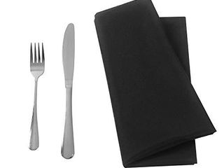 Ascoza 25pcs Polyester Cloth Napkins   17 x 17 inch Black Dinner Washable Napkins with Hemmed Edges for Restaurant Wed 25 Black