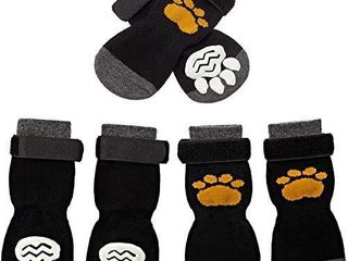 SCIROKKO 3 Pairs Anti Slip Dog Socks   Adjustable Pet Non Slip Paw Protection with Golden Paw Pattern for Puppy