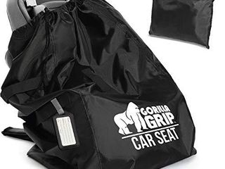 Gorilla Grip Car Seat Bag with Pouch and luggage Tag  Black Straps