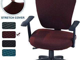 CAVEEN Office Chair Covers 2piece Stretchable Computer Office Chair Cover Universal Chair Seat Covers  Brown