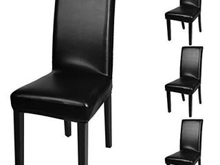 Fuloon Dining Chair Covers  Waterproof  4 Sets  Black