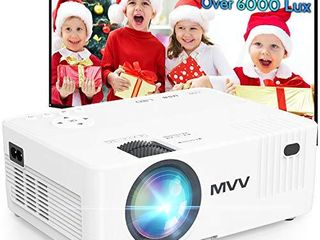 MVV Mini Projector   200ANSI Brightness Over 6500 lux  Outdoor Projector with  100aa Screen  1080P Supported  260aa Display Compatible with TV Stick HDMI USB VGA TF DVD for Home Entertainment