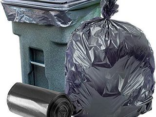 Plasticplace 95 96 Gallon Garbage Can liners a1 5 Mil a Black Heavy Duty Trash Bags a 61a X 68a  25Count