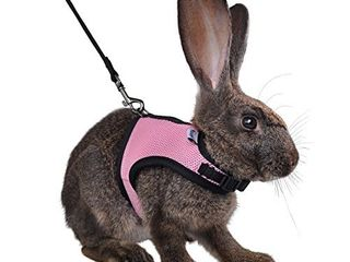 Niteangel Adjustable and Breathable Mesh Harness with lead for Rabbit  S  Pink
