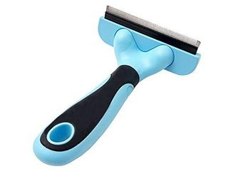 HORHOEUP Pet Deshedding Brush  Professional Grooming Tool  Effectively Reduces Shedding by Up to 95  for Short Hair and long Hair Dogs Cats  4 3 inch length Comb   Blue