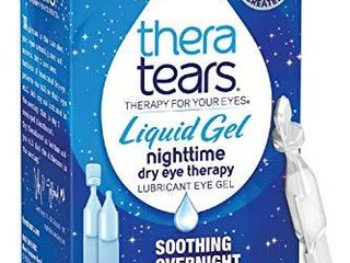 Thera Tears Eye Drops for Dry Eyes  Nighttime Dry Eye Therapy lubricant Eyedrops  Preservative Free  30 Count Single Use Vials  Clear