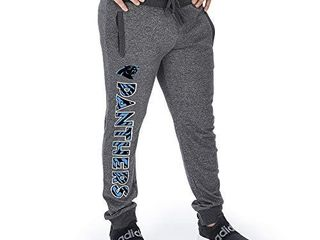Zubaz Officially licensed NFl Carolina Panthers Dark Heather Gray Marled French Terry Jogger X large
