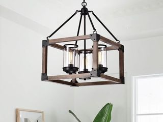 Daniela 3 light Antique Black Wooden Cage Pendant with Glass Cylinders   Retail 234 49