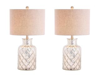 Alvord 24 5  lED Glass Table lamp  Mercury Silver  Set of 2  by JONATHAN Y  Retail 147 58
