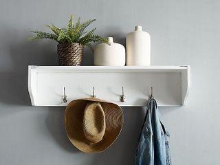 Crosley Harper Entryway 4 Hook Shelf in White   Retail   73 99