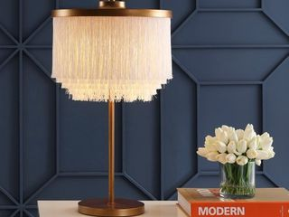 Coco 27 5  Fringed Metal lED Table lamp  Gold White by JONATHAN Y   Retail 114 99