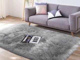 lochas Super Soft Carpet Shaggy Sheepskin 3  x 5   Gray   Retail   44 99