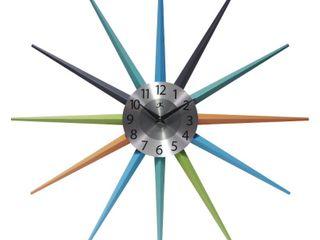 Stellar Mid Century Modern Multicolor Starburst Unique Wall Clock   Retail   104 99