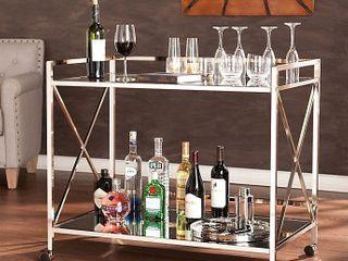 Silver Orchid Munchofen Metal Bar Cart   Retail 186 49