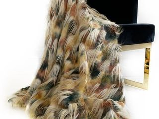 Plutus Multi color Fancy Feathers Faux luxury Throw 36  x 60  Retail   146 99