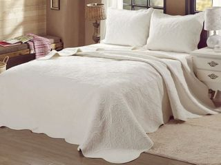 Cozy lines Home Fashion 3 Piece Quilt Set Queen   Ivory Retail   89 99