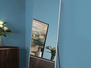 Modern and Contemporary Metal Frame Matte Champagne Full length Mirror Free Standing   Retail   156 49