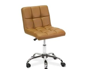 TOTO Home Office Button Tufted Desk Chair  Armless Thick Cushion  Adjustable Height   Retail 87 49