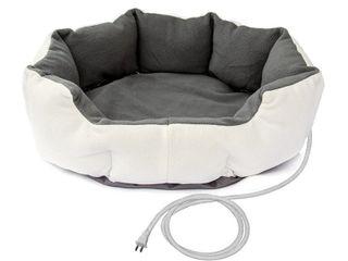 Grey  AlEKO Heated Indoor Thermo Pet Bed   26  X 26  X 8      Retail   60 74