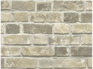 NextWall Distressed Neutral Brick Peel and Stick Removable Wallpaper   20 5 in  W x 18 ft  l