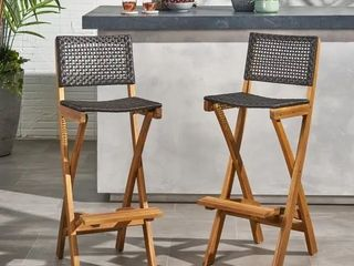 Polaris Outdoor Folding Acacia Wood Barstools  Set of 2  by Christopher Knight Home   Retail  189 12