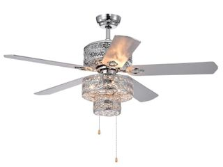 Empire Trois   5 Blade Silver Chandelier Ceiling   Fan 52 Inch Blades   Retail 271 99