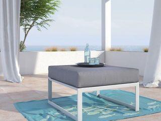 Elle Decor Mirabelle Outdoor 28 5  Ottoman  French White   Retail  197 99