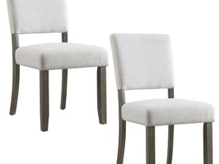 leick Home  Wood Upholstered Back Dining Chair with Heather Gray Seat  Set of 2    Retail 141 99