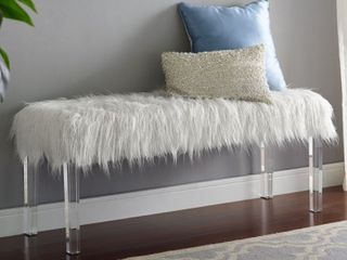 Silver Orchid Mackaill White Faux Fur Bench   Retail 181 99
