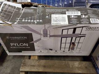 Pylon 48  Brushed Nickel Downrod Mount Indoor Ceiling Fan led W  Remote  3 Blade