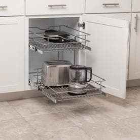 Simply Put 17 5 in W x 14 6875 in 2 Tier Pull Out Metal Soft Close Cabinet Organizer