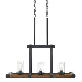 Kichler lighting Barrington 32 01 in W 3 light Distressed Black and Wood Kitchen Island light with Clear Shade