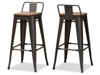 Set of 2 Baxton Studio Henri Vintage Rustic Industrial Style Tolix Inspired Bamboo and Gun Metal Finished Steel Stackable Bar Stool with Backrest Set