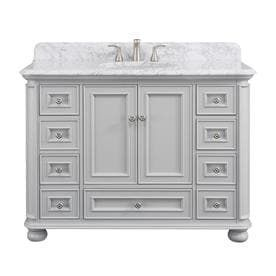 Scott living Wrightsville light Gray Single Sink Vanity with Natural Carrara Natural Marble Top  Common  48 in x 22 in   Top Is Broken