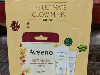 Aveeno Ultimate Glow Minis Skincare Gift Set  Brightening   Exfoliating Face Scrub  Facial Moisturizer with SPF 30   Oat Mask with Pomegranate Seed Extract  Trial Sizes  3 pcs