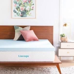 lINENSPA 3 Inch Gel Infused Plush Memory Foam King Sized Mattress Topper