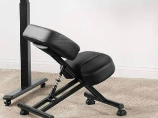 Ergonomic Kneeling Chair  Adjustable Stool for Home and Office   Improve Your Posture with an Angled Seat   Thick Comfortable Cushions  Black