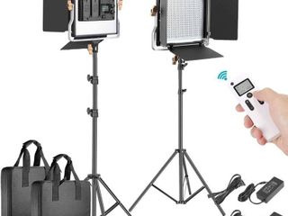 Neewer 2 Packs Advanced 2 4G 660 lED Video light Photography lighting Kit  Dimmable Bi Color lED Panel with lCD Screen  2 4G Wireless Remote and light Stand for Portrait Product Photography