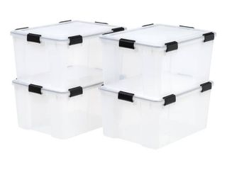 IRIS 4pk 62qt Weathertight Plastic Storage Bin