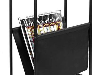 MyGift 21 Inch Modern Wood   Metal End Table with Magazine Holder Sling